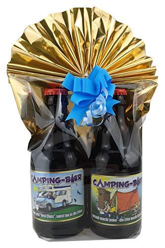 2er- Camping Biergeschenk in Geschenkfolie und Schleife verpackt (Camper&Zelt)