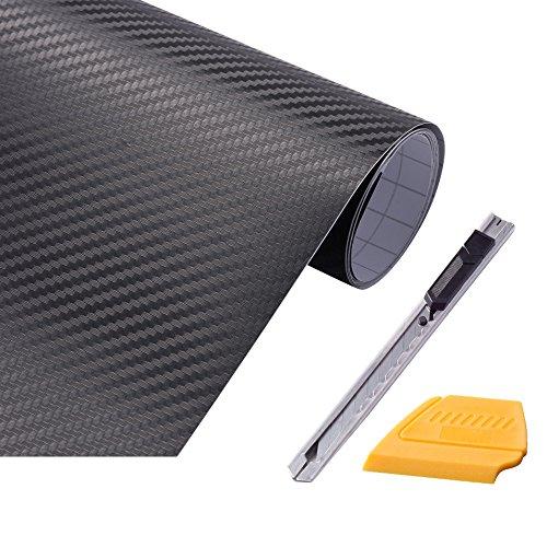 """FOSHIO 3D Fibra de Carbono Negro Envolvente de Película de Vinilo 12 """"x 60"""" Hoja con Cuchillo de Utilidad Cerrable y Enjugador de Borde de Fieltro"""