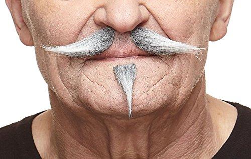 Mustaches Grauer Gentleman fälschen, selbstklebend Schnurrbart und Soul Patch mit weiß