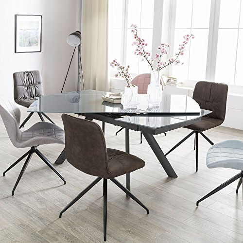 FineBuy Esszimmertisch NOAH 160 - 240 cm ausziehbar dunkelgrau Metall / Glas | Tisch für Esszimmer rechteckig | Küchentisch 6 - 10 Personen | Design Esstisch -