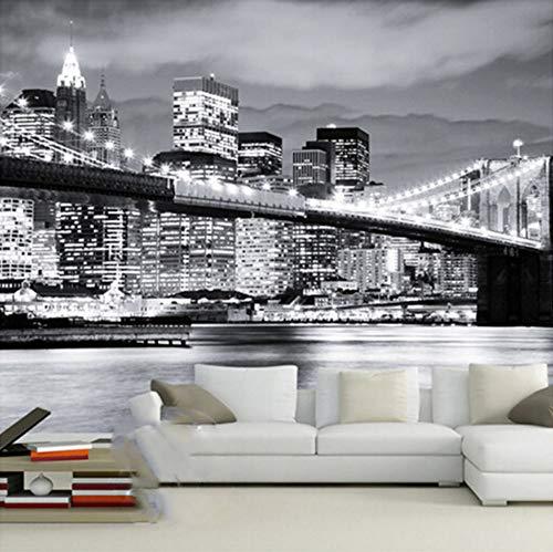 VVNASD 3D Dekorationen Aufkleber Wandbilder Tapete Wand Nachtsicht Manhattan Brücke New York Europäische Und Amerikanische Städte Schwarz Weiß Wohnzimmer Kunst Mädchen Zimmer (W) 250X(H) 175Cm