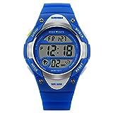 Niños reloj deportivo digital Niños Reloj Deportes al aire libre por LinTimes niños resistente al agua de la muñeca vestido reloj con Digital LED alarma Cronómetro ligero silicona azul
