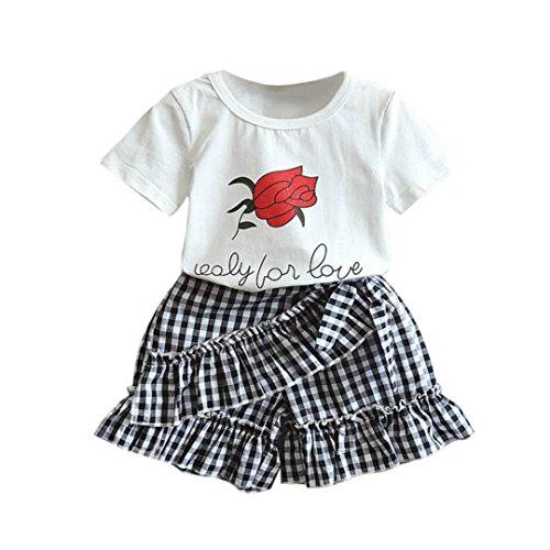 neugeborene kleidung Hirolan Kleinkind Baby jogginganzug Kinder Walkoverall Rose Print Oberteile Kurzarm Tops Mädchen Outfits Kleider Blumen T-Shirt + Plaid Kurze Hose (110CM, Weiß)
