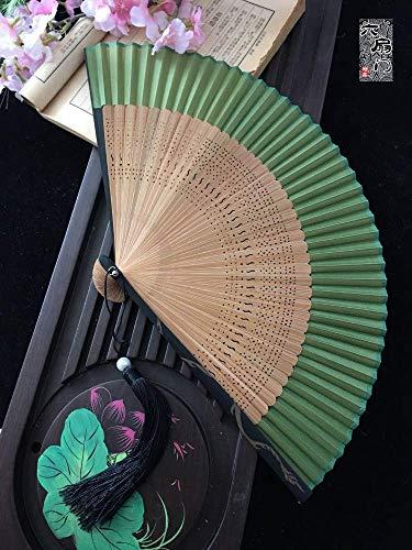 MJY Faltfächer Seide Gesicht Bambus Knochen Damen Männer 'S Chinesischen Stil Japanischen Tanz Sommer Klassische Tragbare Dekoration Office Home Täglichen Geschenk Party Hohl Green Dragon Carving (Dragon-party Dekorationen Green)