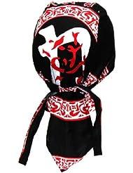 Bandana casquette Style Rocker & Biker (Noir & Rouge & Blanc)