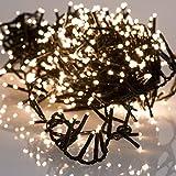 LED Lichterkette kompakt | mit Timer und Dimmer | grünes Kabel | Lichtfarbe: warm weiss | für Außen | Größe: 3400 cm-1500L