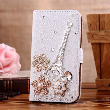 Incore Creative Flipcase horizontal und Kartenfach aus Leder mit Magnetverschluss für Samsung Galaxy Mega 6.3 I9200/I9025/I9028 mit Wein- strass/Blumen Motiv