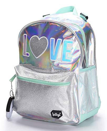 Baagl Glitzer Schulrucksack für Mädchen - Holo Rucksack Mädchen Teenager - Coole Schultasche für Kinder Jugendliche von Baagl
