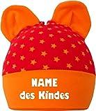 KLEINER FRATZ Baby Ohren Mütze Sternchen (Farbe rot-orange) (Gr. 2 (74-98) mit Namen Ihres Kindes