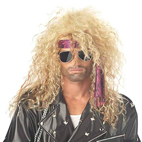 DSXB Perücke Blond Herren Wig 80Er Gewellt Mode Metal Rock Hippie Für Karneval Fasching Cosplay Halloween Rocker Party Kostüm Perücken Damen (80's Rock Band Kostüm)