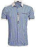 Burlady Trachtenhemd Herren Hemd Kariert Oktoberfest Cargohemd Baumwolle Freizeit Hemden Super Qualität- Gr. XL, Kurz-Blau