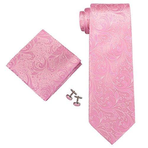 Landisun Paisleys Männer Seide Krawatten Set 62C Hell Rosa, 59