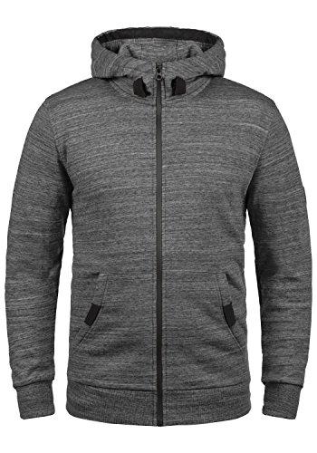 SOLID Obito Herren Sweatjacke Kapuzen-Jacke Zip-Hoodie aus einer hochwertigen Baumwollmischung Meliert, Größe:M, Farbe:Grey Melange (8236)