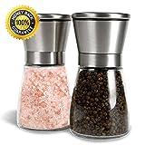 Salz- und Pfeffermühle Set, Allezola Premium Salz-und Pfeff ermühle Set - 2 Stück mit verstellbarem Mahlwerk und Glasgehäuse - aus Edelstahl und hübschen Glasbehälternt , Pfeffermühle , Edelstahl Gewürzmühle , Salzmühlen Pfefferstreuer -