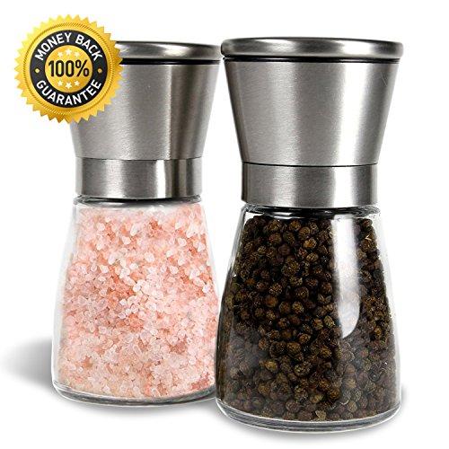 Salz- und Pfeffermühle Set, Allezola Premium Salz-und Pfeff ermühle Set - 2 Stück mit verstellbarem Mahlwerk und Glasgehäuse – aus Edelstahl und hübschen Glasbehälternt , Pfeffermühle , Edelstahl Gewürzmühle , Salzmühlen Pfefferstreuer