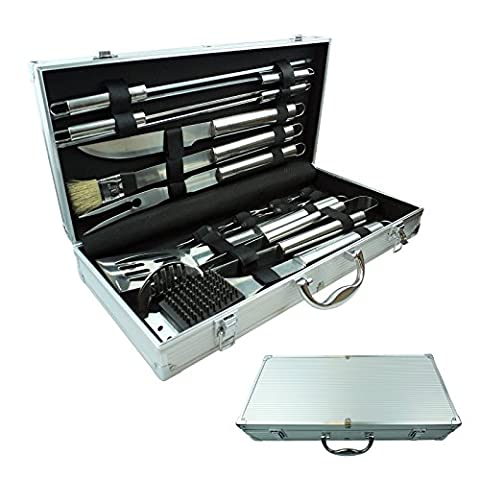 Bid Buy Direct® 18 Piece Stainless Steel Barbecue Accessories Tool Set In a Handy Easy Carry Aluminium Case - Perfect BBQ Utensils Gift Set for Barbecue Enthusiasts