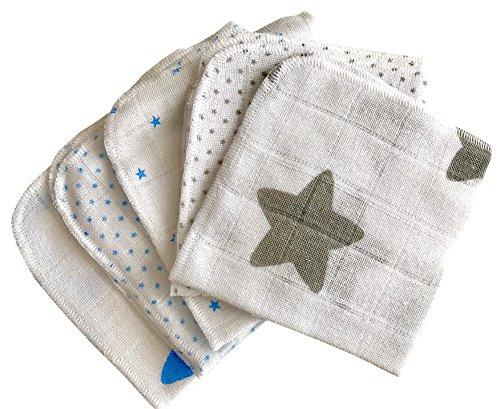 Babymajawelt® Mull-Waschlappen 25x25 Premium Baumwolle 5er-Set, Allzwecktücher, Waschlappen für Babypflege & Co. (stars blau-grau) (Baby Waschlappen)