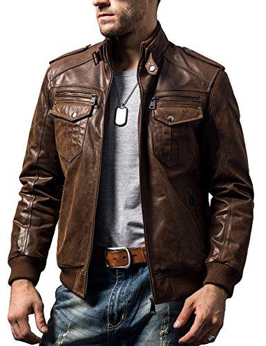 FLAVOR Chaqueta de Moto de Cuero marrón Retro de Motorista para Hombre Chaqueta de Cuero Genuino (marrón, L)