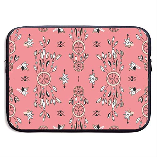 Bohemian Indian Summer Feathers and Aztec Flowers 13-15 Inch Laptop Sleeve Bag Portable Dual Zipper Case Cover Pouch Holder Pocket Tablet Bag,Water Resistant,Black,15inch Samsonite Laptop Roller