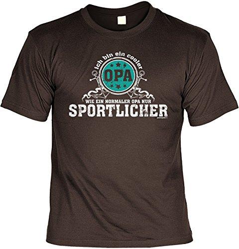 Geschenk für Opa Geschenkidee Opas T-Shirt: Ich bin ein cooler Opa - wie ein normaler Opa nur sportlicher Braun