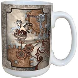 Árbol de-free lm43604 15 oz Tarjeta de felicitación de diseño de hada con el Vigía y Creature taza de cerámica con mango completo