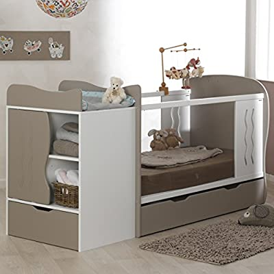 Alfred & Compagnie - Cuna convertible en cama con cajón (70 x 140 cm), color beige y blanco