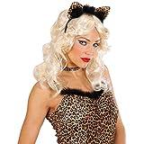 Amakando Leopardenohren Haarreif Leoparden Ohren mit Strass und Federn Sexy Leopard Katzenohren Leopardohren Haarreifen Leo Tierohren am Bügel Katzenkostüm Zubehör