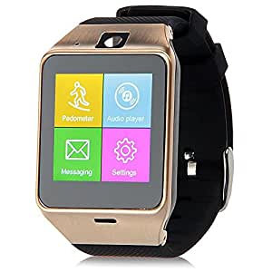 ESTAR Bluetooth Smartwatch with SIM Card Support | Micro SD card Support | Facebook | Whatsapp | Activity Tracker | Fitness Band | Music | Camera with Video Recording | Better Display | Loud Speaker | Microphone | Touch Screen | Multi-Language Compatible with Micromax Canvas Fire 4G Plus and All Other Smartphones - Golden iBall Andi 4A Projector