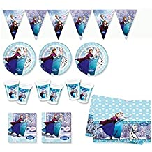 Fiesta conjunto Frozen (24 placas, 24 tazas 40 servilletas,1 Mantel ,1 bandera banderas) para 24 personas