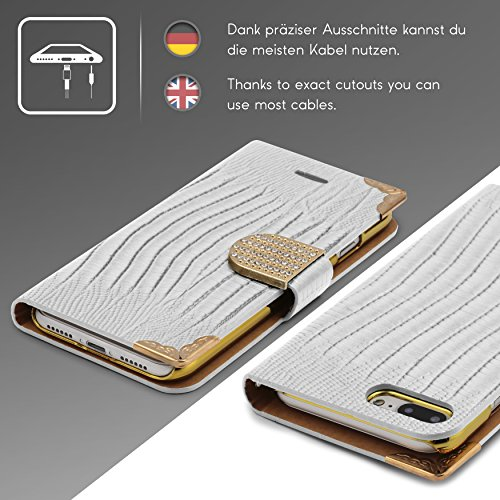 Urcover® iPhone 7 Plus / 8+ Hülle, Crocodile Edition Wallet mit [ Magnet Stand-Funktion ] Bookstyle Flip Case Etui Cover Handytasche Schutzhülle für Apple iPhone 7 Plus / 8+ Farbe: Schwarz Weiß