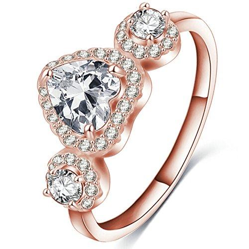 Anyeda Rose Vergoldet Ring Ring mit Wappen Herz Ring Rose Gold Herrenringe Blau Ringgröße 60 (19.1)