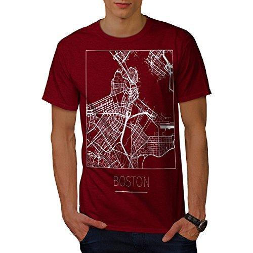 t Karte Mode Männer T-Shirt, Stadt, Dorf Grafikdesign gedruckt Tee ()
