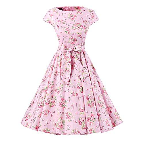 iHAIPI - Damen Audrey Hepburn 50s Retro Vintage Bubble Skirt Rockabilly Swing Evening Kleider (01. EU 36 (S), 014 Rosa Hintergrund Rot Blume)