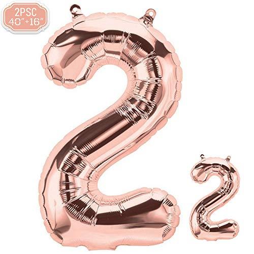 FUNXGO Folienballon Zahl in Rose Gold 2 Stück - 40