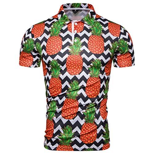 81d7fc44bfac1b Luckycat Herren Poloshirt Polohemd Shirt Basic Polo Hawaiihemd Herren Druck  Blumen Hemd Funky Freizeit Kurzarm Hemden Funky Hawaiihemd Herren Kurzarm  ...
