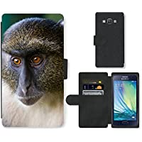 Super Galaxy Cell Phone Card Slot PU Leather Wallet Case // V00003899 sykes monkey mount kenya // Samsung Galaxy A3 SM-A300 (not fit S3)