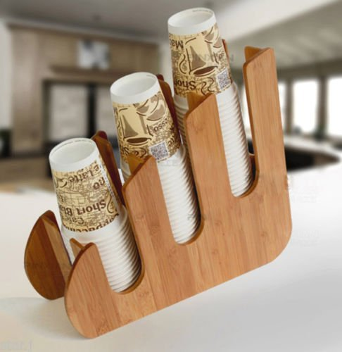 Earywish Papier Dixie Cup Deckel Halter Dispenser Holz Organizer Coffee Shop Counter Cafe Dixie Cup Dispenser