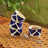 ExclusiveLane 'Four Dips Of Morocco' Kitchen Ceramic Handpainted Tabletop Chutney & Pickle Bowls (13.4 Cm X 7.1 Cm X 45.2 Cm, Blue & White, Set Of 4)