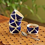 #8: ExclusiveLane 'Four bowls of Morocco' Handpainted Chutney & Pickle Bowls In Ceramic (Set Of 4) -Bowl Set For Kitchen Chutney Bowls Set Ceramic For Serving Dip Bowls Small Pickle Bowl Set Ketchup Bowl