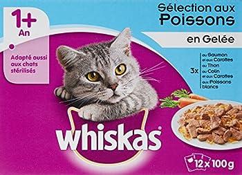 WHISKAS - Sélection aux Poissons en Gelée 1 avec - Sachets Fraîcheur pour chats 12 x 100 g - Lot de 4