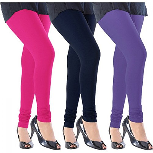 M.G.R.J Women\'s Cotton Lycra Churidar Leggings Combo (Pack of 3 Pink, Rani, Purple) - Free Size