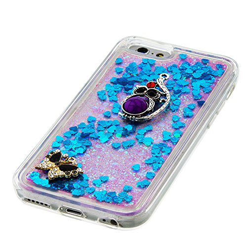 MOONCASE iPhone 6S Coque, Glitter Sparkle Bling [Lips] Faux Diamant Dessin Motif Liquide Étui Coque pour iPhone 6 / 6S (4.7 inch) Soft TPU Gel Souple Case Housse de Protection Argent 02 Bleu 04