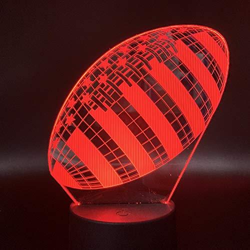 3d Nachtlicht Lampe,3D Lampe Rugby Fußball Sport Ball Spiele Schlafzimmer Dekoration 7 Farben Mit Besten Weihnachtsgeschenk Für Kinder Nachtlicht Lampe