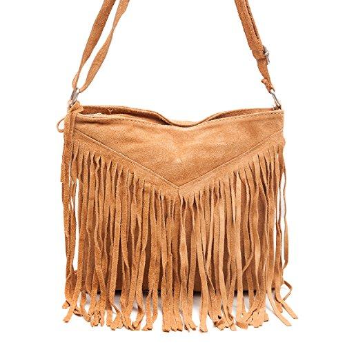 Borse a spalla , Borse a tracolla, sacchetto di frange, in pelle ( 26/ 23/ 2 cm), Mod. 2068 by Fashion-Formel Cognac