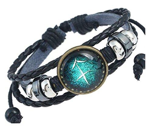 lation Astrologie Armband Multilayer Charm Leder Armband Armreif ()