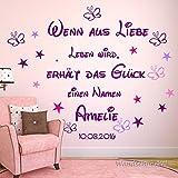 Wandtattoo AA001 mit Namen und Geburtsdatum Wenn aus Liebe Leben wird...personalisierter Spruch zur Dekoration im Kinderzimmer. Baby Geschenk,Geburt