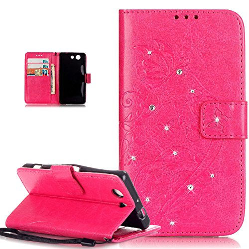Price comparison product image Sony Xperia Z3 Compact Case,Sony Xperia Z3 Compact Cover,ikasus Rhinestone Bing Glitter Diamond Embossing Flower Vines Butterflies Flip Premium PU Leather Fold Wallet Pouch Case Wallet Flip Cover Bookstyle Magnetic Closure with Card Slots & Stand Function Protective Case Cover for Sony Xperia Z3 Compact,Hot Pink