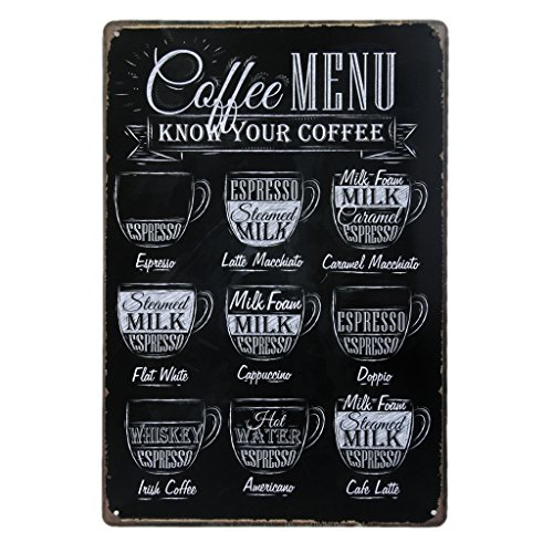 Vintage Poster Metallo Cafe Pub Bar Arredo Murale 20x30cm - Coffee Menu
