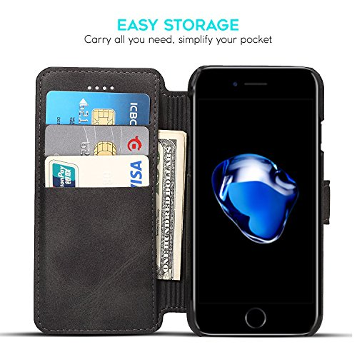 ZUSLAB iPhone 8 / iPhone 7 Hülle, Delux Vegan Leder Brieftasche Cover Stand Magnet Case mit Card Slot für Apple iPhone 8 / iPhone 7 (Schwarz) Schwarz