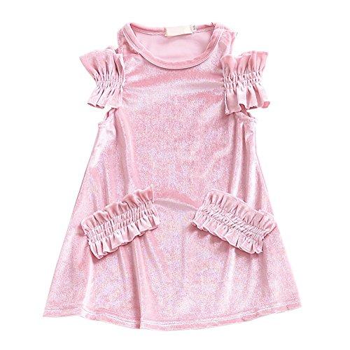 Brightup Kinder Mädchen Samt Kleid ärmelloses Kleid, kleines Mädchen Kleid Bowknot Weste Kleid Rüschen Prinzessin 2018 Sommerkleid für 2-7 Jahre (Kleid Samt-rosa Kleine)